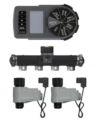 Zinc Manifold Yard Watering Kit with 2 Valves and Limited Hardware